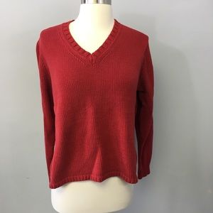 Gap red v-neck heavy knit sweater